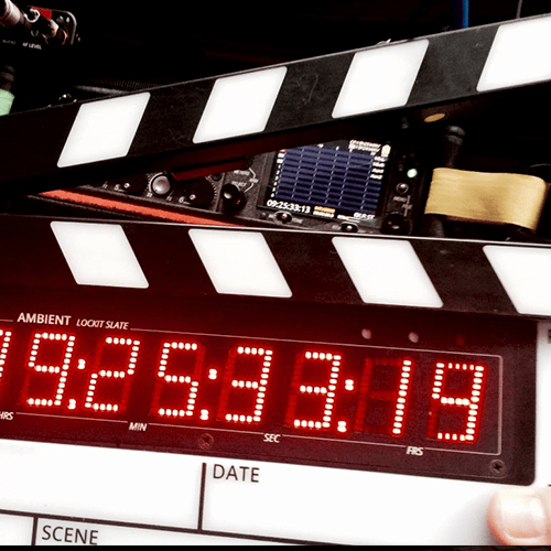 clapperboard, smart slate, lockit, ambient, sound devices, timecode, wireless, TC, LED, ACN, date, scene, clap